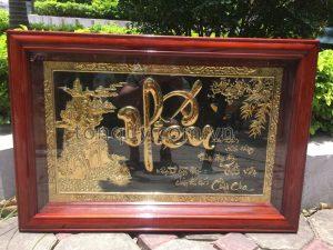 Tranh Đồng Chữ Hiếu Mạ Vàng 24k