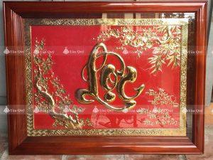 Tranh Chữ Lộc Thư Pháp Mạ Vàng 24k