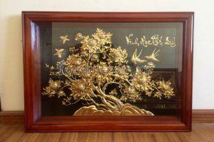 Tranh Hoa Mẫu Đơn Mạ Vàng 24k