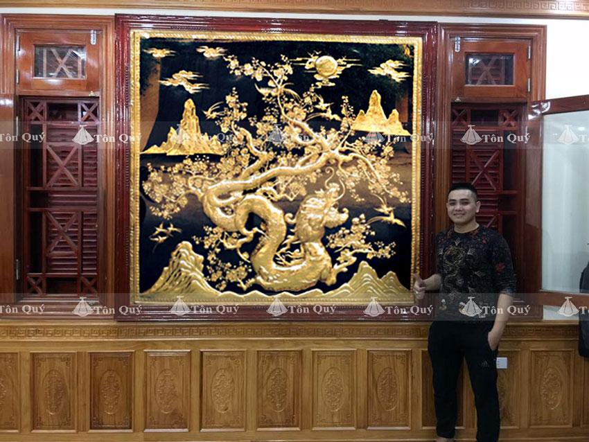 tranh mai hóa rồng mạ vàng