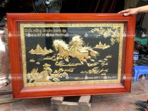 Tranh Song Mã Mạ Vàng 24k