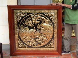 Tranh Vợ Chồng Chim Công Mạ Vàng 24k
